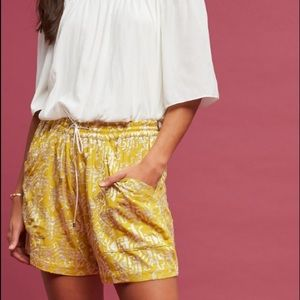 Anthropologie yellow and white shorts size medium